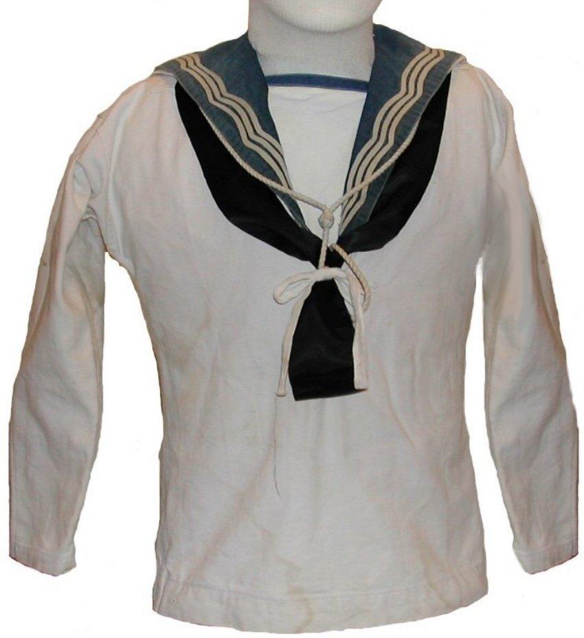 ... uniform jumper with blue RNCVR collar, silk handkerchief, and knife